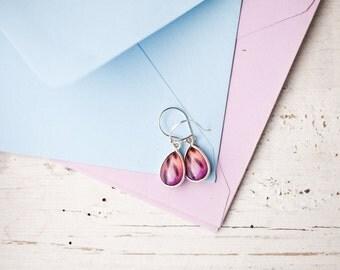 Wild Orchid earrings - Silver teardrop earrings - Pink Flower earrings - Yellow earrings - Orange drop earrings, Alstroemeria jewelry (E146)