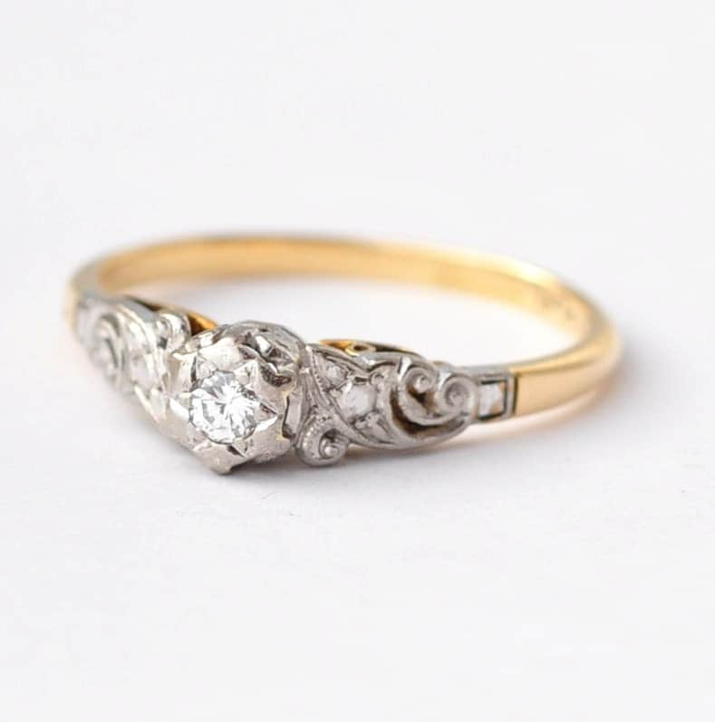 Art Nouveau Engagement Ring Diamond 18K Gold & Platinum