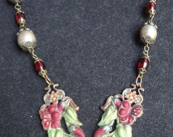 Sale--Antique Calla Lily and Hibiscus Necklace