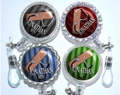 Retractable Badge Holder - Personalized Male Nurse Badge Reel in 4 Colors, Stripes Id Holder (A304)