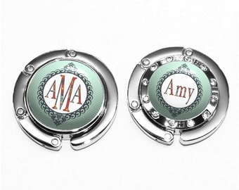 Polka Dot Purse Hanger - Personalized Folding Bag Hook in Mint with Floral Applique Name (A186)
