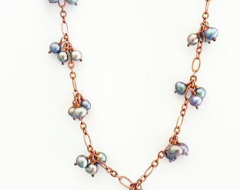 Freshwater pearl tri cluster copper chain necklace