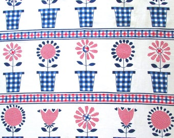 Vintage Fabric Mid Century Swedish Cloth Gingham Flowers Louise Fougstedt