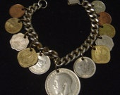 Coin charm Bracelet Great Britain 1918, Pakistan,India,Farthling, Repub. Peruana