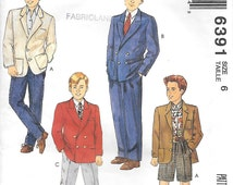 McCalls 6391 - Boys Single or Double Breasted Suit and Shorts Sewing Pattern Size 6