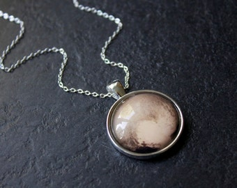 Pluto Necklace - Silver Pluto Heart Pendant - Solar System Necklace - Science Necklace - Planet Pluto Necklace
