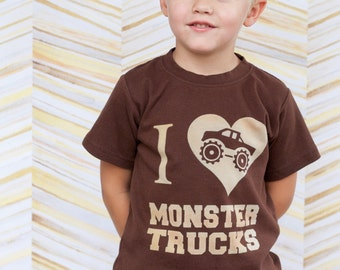 Toddler or Kids Shirt, I Love  Monster Trucks - Ink Free print, Sizes 12m to 8, High Quality Tshirt, Free Shipping