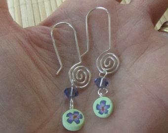 Handmade Silver Convertable Earrings Purple Flower Swarovski Crystal - Wear Two Ways