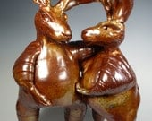 "Rabbit Sculpture ""Southern Comfort"" 77 Porcelain Shino finish"