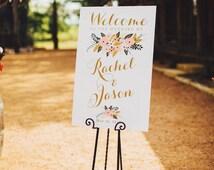 Large Wedding Welcome Sign // Welcome Wedding Sign // Vintage Wedding Sign // Reception Sign // Summer Wedding Sign