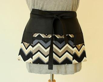 half apron - waitress apron - teacher apron - money apron - vendor apron - utility apron - zipper pocket - adjustable - black MADE to ORDER