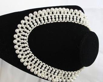 Vintage Faux Pearl Collar Choker, Bridal Jewelry