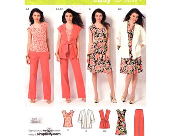 Womens Sewing Pattern Simplicity 2618 Pants Jacket Vest Scarf Dress Top Plus Size 20 to 28