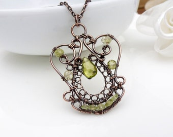 Wire wrapped copper necklace, Peridot necklace, Olive green wire wrapped handmade copper jewelry