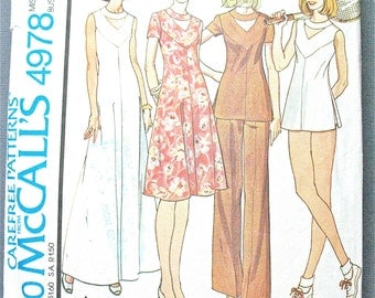 Uncut McCall's 4978 1970s Misses' Dress or Top and Pants Shorts Yoked back zipper dress top keyhole neckline Vintage Sewing Pattern Bust 36