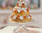 Triple Tiered St Honoré Pastry Centerpiece - Miniature Food in 12th Scale for Dollhous