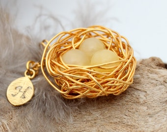 Personalized bird nest necklace with three topaz eggs and initial charm- gold plated woven wire- November birthstone- crystal healing