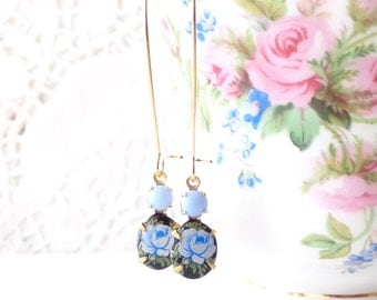 Vintage Limoges Blue On Black Rose Earrings - Long Dangle Earrings - Flower Cameo Earrings - Garden Wedding - Blue Rose - Something Blue