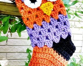 Crochet Owl Halloween or Christmas Stocking in Purple, Black and Orange
