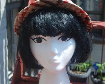 Vintage 1940s Summer Straw Sun Hat a Reproduction of Denise Chaboud, Paris