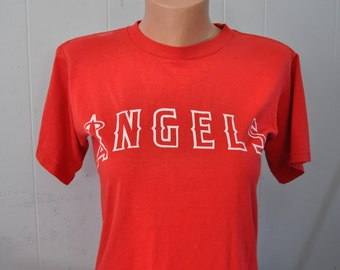 DIstressed Angels TShirt Red Baseball California Jersey Tee Number 3 Youth Large Ladies Small Medium