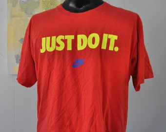 90s Vintage Nike Tee Neon Just Do it TShirt Athletic Sports Running Red Short XL