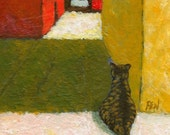 cat art print, acrylic painting - Waiting For Someone's Return - wall art, home decor, cat lover gift, desk decoration
