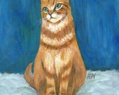 cat painting art print - Blue, Grey And A Ginger Cat - orange yellow cat lover gift  wall room home decor desk decoration