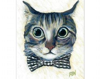 """cat art print acrylic painting """"Good Boy Cat With A Checked Bowtie"""" wall art decor desk decoration cat lover gift, 8x10 print 6x8"""