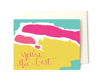 Thank You Note Greeting Card, You're the Best Colorful