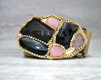 Feminine Belt Buckle - Girly Buckle with Black & Pink Agate and Rhinestones by Sharona Nissan