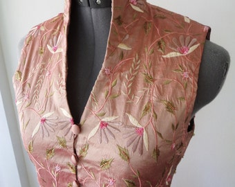 18th century waistcoat, rococco waistcoat, 90s does 18th, cosplay LARP, EXQUISITE embroidery, beads sequins, medieval costume, XS
