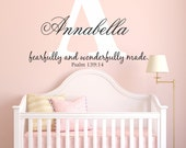 Fearfully and Wonderfully Made Bible Quote Custom Personalized Name And Initial Vinyl Wall Art Decal Sticker