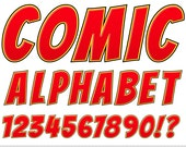 Comics Alphabet Clipart Red Letters Clipart Comic Book Typography Alphabet Clip Art Scrapbooking Numbers Digital Text Clipart Uppercase