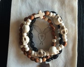 Men's Black, Olive Wood and Horn Beaded Bracelets with Cross