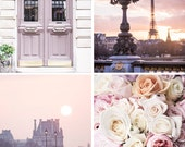 Paris Photography Set - Paris in Mauve, Eiffel Tower, Paris Door, The Louvre, Paris Roses, Four Fine Art Photographs, Large Wall Art