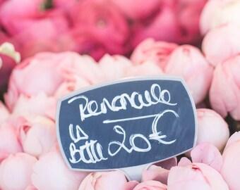 Paris Flower Photograph - Paris Ranunculus, Romantic Decor, Flower Market, French Home Decor, Large Wall Art