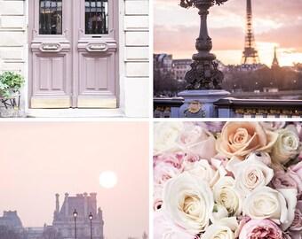 Paris Photography Set - Paris in Mauve, Eiffel Tower, Paris Door, The Louvre, Paris Roses, Four Fine Art Photographs, Large Wall Art