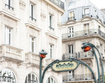 Paris Photography - Le Metro, Saint-Michel Paris Architectural Detail, Large Wall Art, French Home Decor