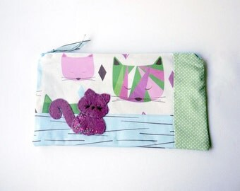 "Zipper Pouch, 5x9.25"" in Blue, Purple, Green, Pink and Cream Cats with Handmade Felt Kitten Embellishment, Cat Pencil Case"