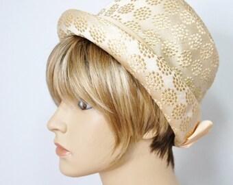 Vintage Hat Women's 1960's Hat Gold Circle Dot Fabric Top Hat Bow Hat Chapeau Millinery Mod Vintage Hat