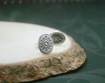 Tiny sunflower art clay fine silver ear studs, bridal, wedding, for wife