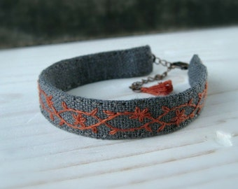 Floral Embroidered Cuff - Burnt Orange Floral Design Embroidered on Grey Linen Cuff Bracelet