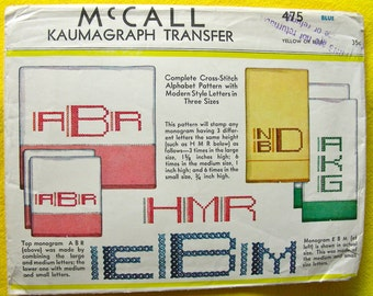 UNUSED 1930s  McCall Transfer Pattern 475 * Complete Art Deco Style Alphabet Pattern in Three Sizes   * UNCUT