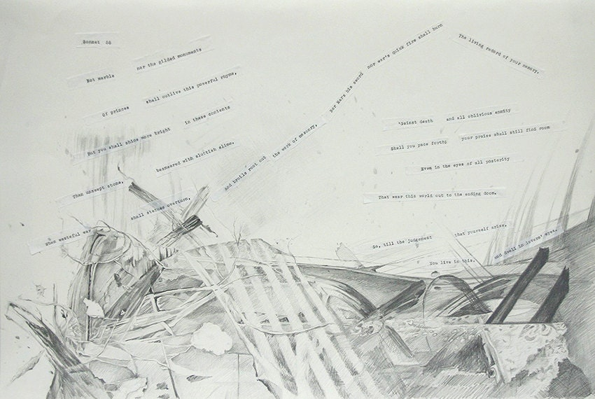 Shakespeare Sonnet 55 Collage Pencil Drawing On Paper