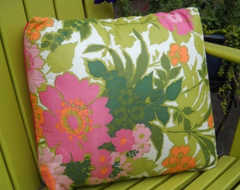 PILLOW SALE--Pillow Cover, Retro Fabric Quilted Pink and Green Floral Print Pillow Cover