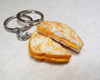 Polymer Clay Melty Grilled Cheese Best Friend Bff Key ring Key Chains, Valentine's Day
