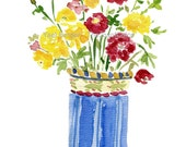 art print Buttercups bouquet in  vase,  watercolor print , floral art print, Flower art, colorful art, mothers day, fresh wall decor