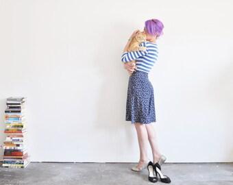 high waist floral skirt . navy blue knee length summer wear .extra small.small.xs .sale