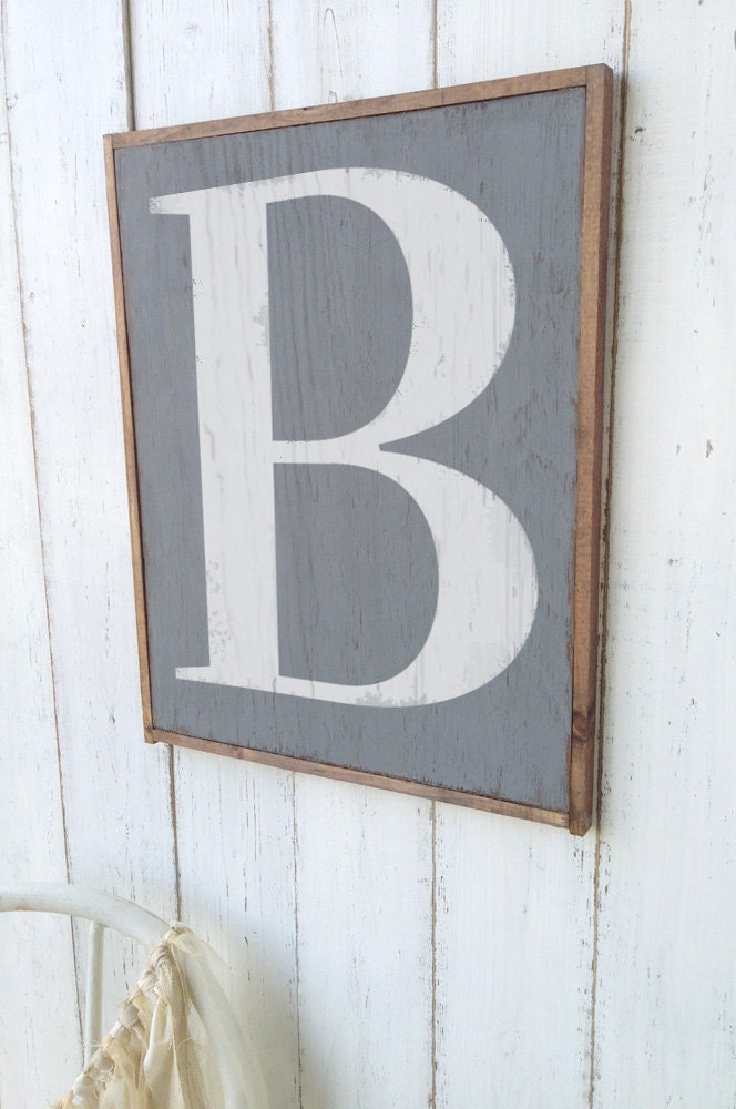 Wall Decor Letter B : Letter b sign wooden wall decor rustic cottage by oldnewagain